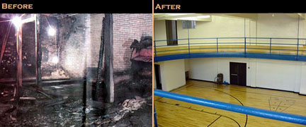 Fire Damaged Gym, complete rebuild